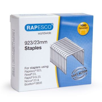 4,000 x RAPESCO 923/23mm STAPLES - Hard Wire Galvanised Staples Code: 1242